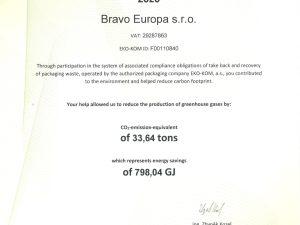 Bravo Europa s.r.o – participare la reducerea emisiilor de carbon în 2020